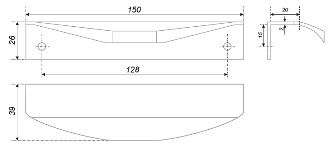 Ручка торцевая Delta м/о 128 Хром