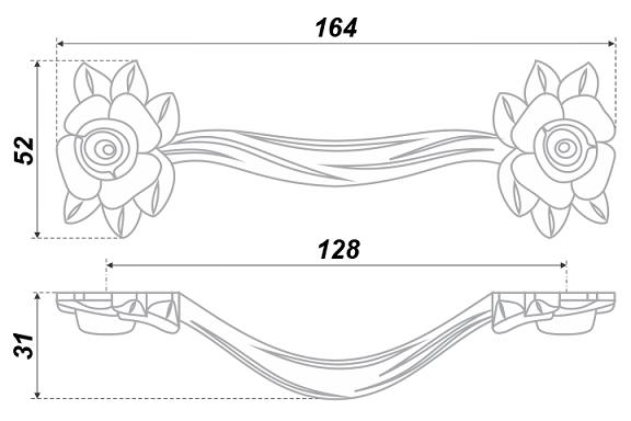 Ручка-скоба Lulu Rose м/о128 Старинное серебро