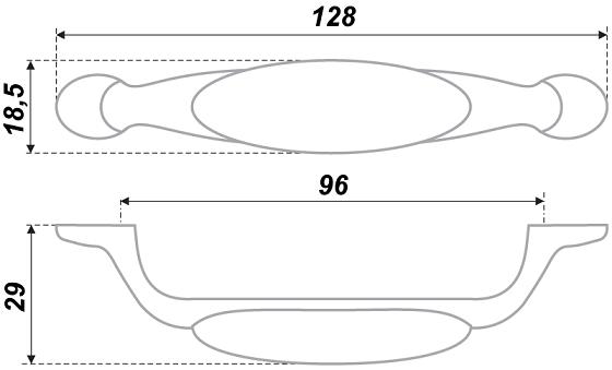 Ручка-скоба RS113 м/о 96 Латунь+цветы полевые