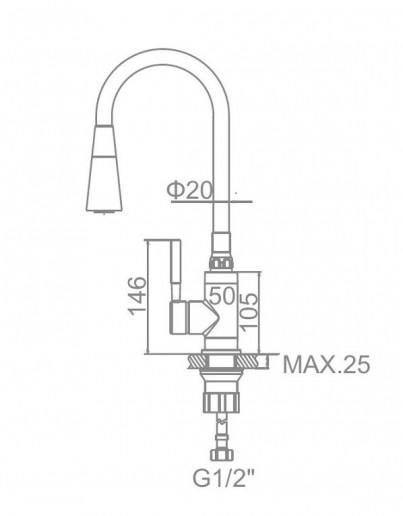 Смеситель LEDEM L4199-2