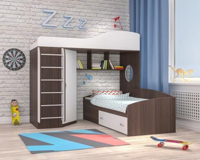 Кровать-чердак Кадет-2 с металлической лестницей