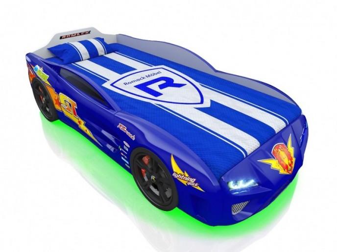Кровать-машина DREAMER синяя молния
