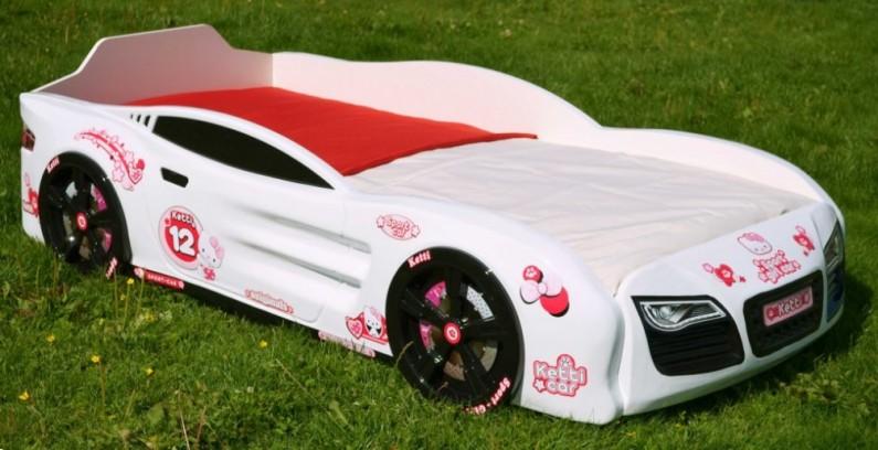 Кровать-машина R2 бело-розовая