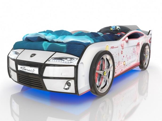 Кровать-машина  KIDDY белый медвежонок