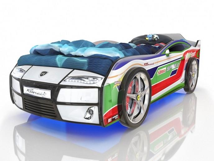 Кровать-машина  KIDDY белый спорт 2