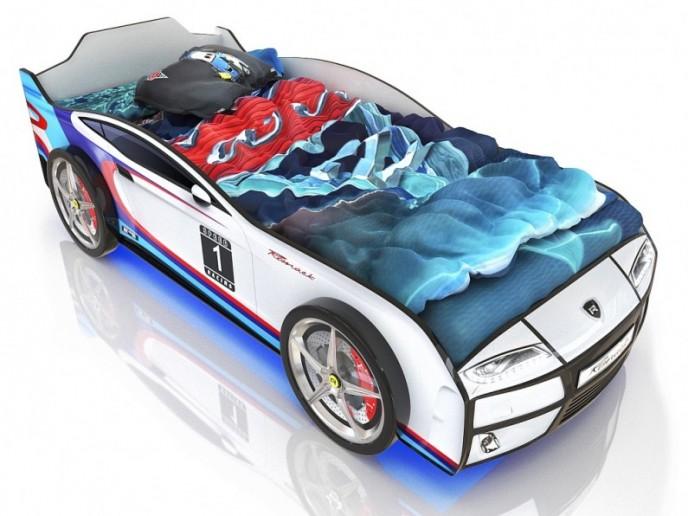 Кровать-машина  KIDDY белый спорт 3