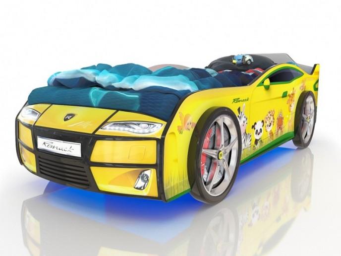 Кровать-машина  KIDDY желтая зверята